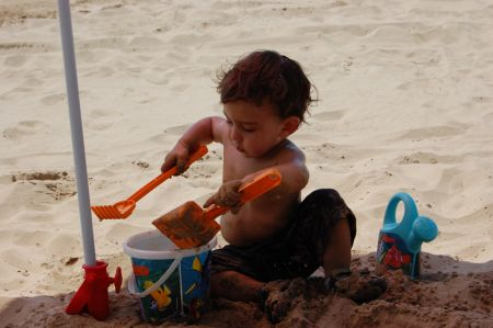 Thomas playing in the sand